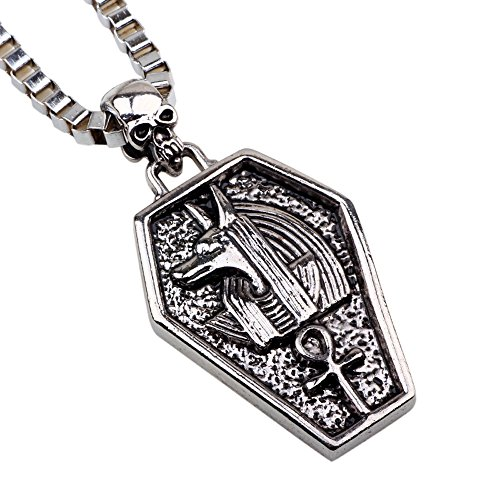 eval the Ancient Egyptian Cleopatra God Guardian Angel Pattern Skull Men Necklace (3 Assorted Sitting Dogs)