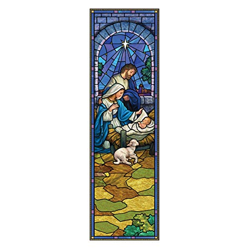 Stained Glass Nativity (Christmas Stained Glass Design Hanging Polyester Nativity Christmas Banner with Pole Hem, 6)