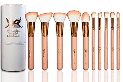 MASQUERADE Gilded Rose ROSE GOLD 10 pc Professional Kabuki Makeup Brush Set - Pink Tip White Vegan Synthetic Hair - Victorian Pink Numbered Long Handle Makeup Brushes with Matching Cylinder Case -
