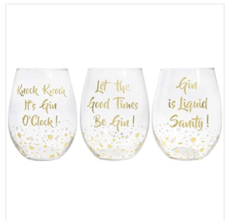 2decd903f34 Set of 3 Gin Glasses STEMLESS Bubble Gold Drinking Champagne Xmas Wine  Tonic New: Amazon.co.uk: Kitchen & Home