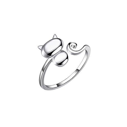S&E las de las mujeres los anillos de dedo del gato lindo de la plata esterlina
