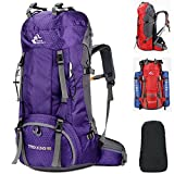 Fengtu Large 60L Hiking Backpacks For Men Women Waterproof Nylon Backpack Camp Traveling Backpacks Treking Sports Bags Daypacks (Purple, 60L) Review