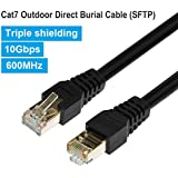 Outdoor Ethernet 50ft Cat7 Cable, PHIZLI Shielded Grounded UV Resistant Waterproof Buried-able Network Cord SFTP 10 Gigabit 600MHz