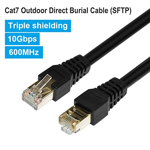 Outdoor Cat7 Ethernet Cable 200ft Black,PHIZLI Shielded Grounded UV Resistant Waterproof Buried-able Network Cord 10 Gigabit 600MHz Triple Shielded (SFTP) with OFC for Modem, Router, LAN, Computer