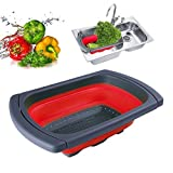 Collapsible Colander Over the Sink Kitchen Strainer Foldable Colander Silicone Filter-Red