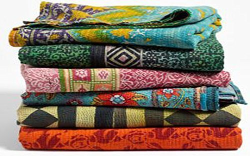 10 Pieces Mix Lot of Indian Tribal Kantha Quilts Vintage Cotton Bed Cover Throw Old Sari Made Assorted Patches Made Rally Whole Sale Blanket