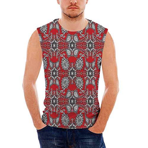 Mens Workwear Red Mandala Sleeveless Midweight T- Shirt,Doodle Mandala Flower Iv