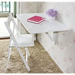 SoBuy Wall-mounted Drop-leaf Table, Double Folding Kitchen & Dining Solid Wood Table Desk, 80cm(31.5in)×60cm(23.6in), White, FWT02-W