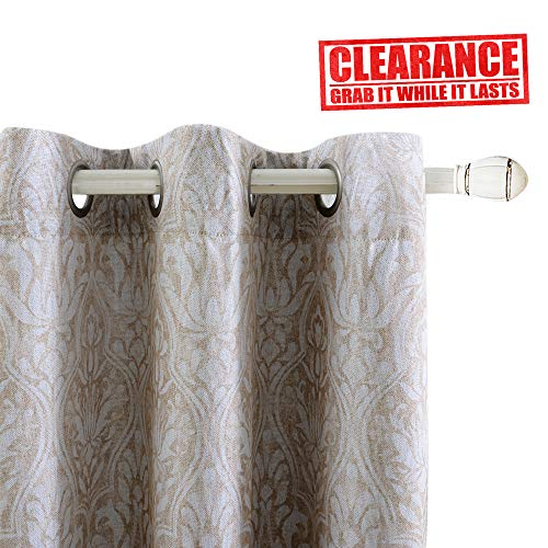 Damask Print Blackout Curtains for Living Room Darkening Vintage Thermal Insulated Linen Texture Energy Efficient Window Panel Drapes for Bedroom 84