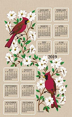 KayDee Designs 2020 Linen Calendar Kitchen Towel (Dogwood and Cardinals) (Calendar Linen Tea Towel)