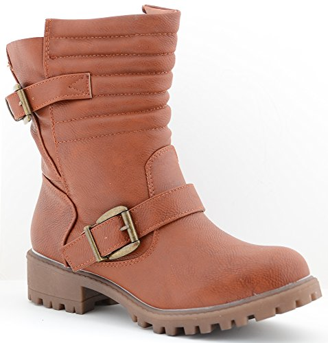 Womens Tan Biker Boots - 4