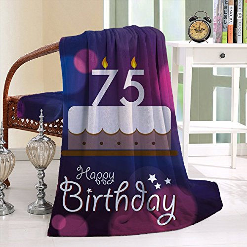 HAIXIA Blanket 75th Birthday Artistic with Graphic Cake Candles Purple Magenta White