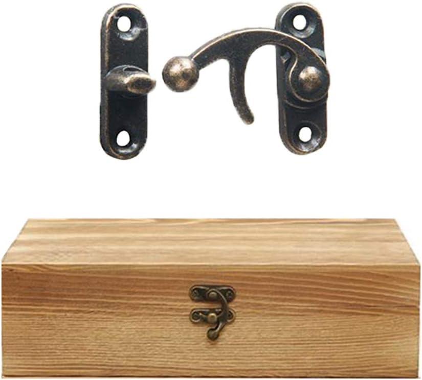 yyuezhi 12 Verschluss Haspe Antique Metal Lock Horn Verschluss Haken Mini Kleine Schnalle Vintage Dekoration Kleine Schnalle aus Holzkiste Linker Rechter HakenBronze Horn Lock mit Schrauben
