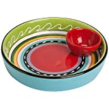 Abbott Collection Home Colourful Olive Plate with Bowl-6.75-Inch