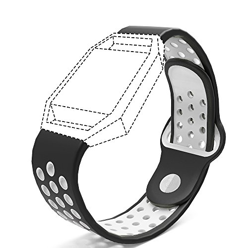 Accessories for Fitbit Blaze Band Strap,Gel Soft Silicone Replacement Sport Band for Fitbit Blaze Smart Fitness Watch (Black&White, 5.1-6.9 inch)