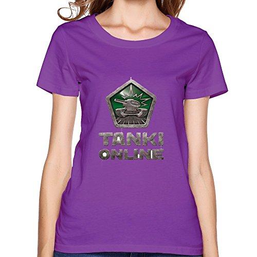FACAI Women's Tanki Online Logo Funny Teen Shirt L Purple