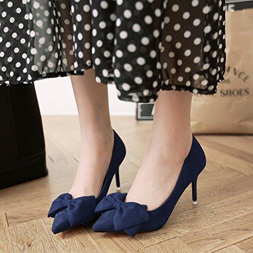 Heel Pajarita bien 5cm con de high centímetros satén 8 versátil las azul 40 con bajo de Shoes y zapatas mujer de Royal zapatos 55nFqSr8xw