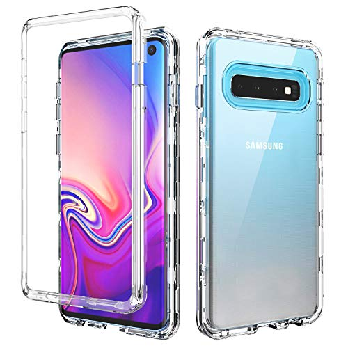 SKYLMW Case for Galaxy S10 Case,Shockproof Three Layer Protection Hard Plastic & Soft TPU Sturdy Armor High Impact Resistant Cover for Galaxy S10 2019(6.1 inch),Clear