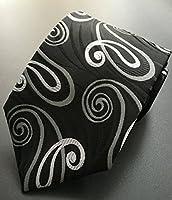 MENDENG Classic Paisley Black White Gold Jacquard Woven Silk Men's Tie Necktie