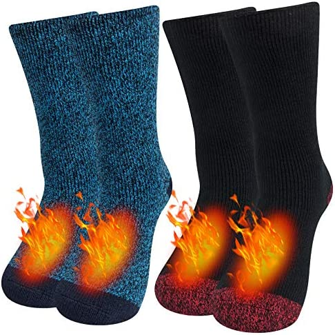 1-2 Pairs Thermal Socks, Thick Warm Winter Heated Socks for Men Women Cold Weather