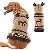 PUPTECK Christmas Dog Hooded Sweater - Reindeer Pattern - Xmas Knitwear Hoodie Winter Clothes Warm Coat - Medium