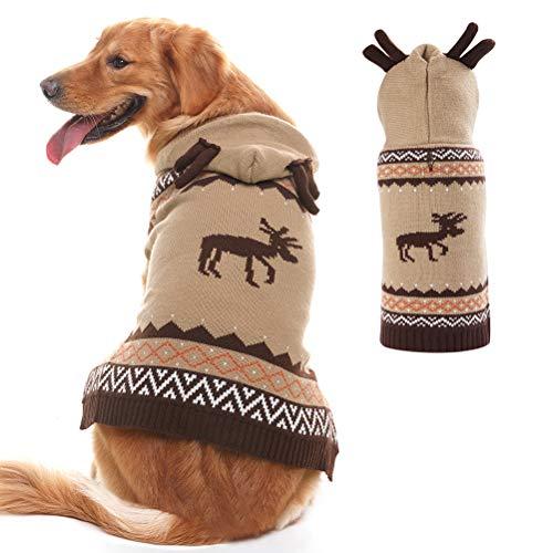 PUPTECK Christmas Dog Hooded Sweater - Reindeer Pattern - Xmas Knitwear Hoodie Winter Clothes Warm Coat - Medium