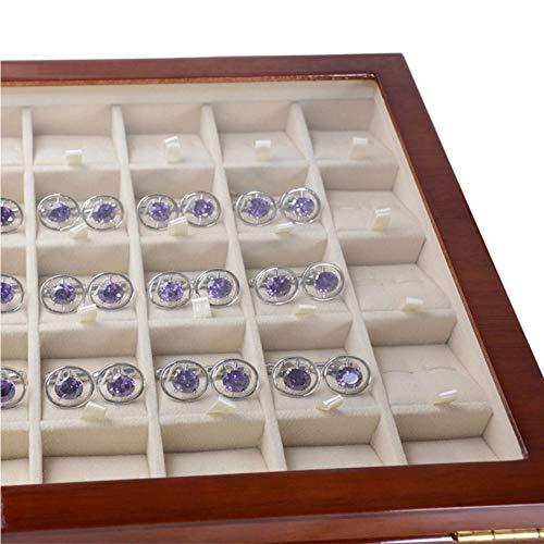 CUHAWUDBA Caja de Almacenamiento de 40 Pares de Gemelos y Clip de Corbata para Hombres Caja de Exhibici/óN de Joyer/ía de Colecci/óN de Pendientes de Anillo de Madera Pintada a