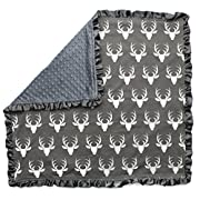 Dear Baby Gear Baby Blankets, Antlers on Grey, Grey Minky