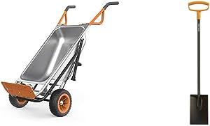 WORX Aerocart 8-in-1 Wheelbarrow / Yard Cart / Dolly & Fiskars 46 Inch Steel D-Handle Square Garden Spade