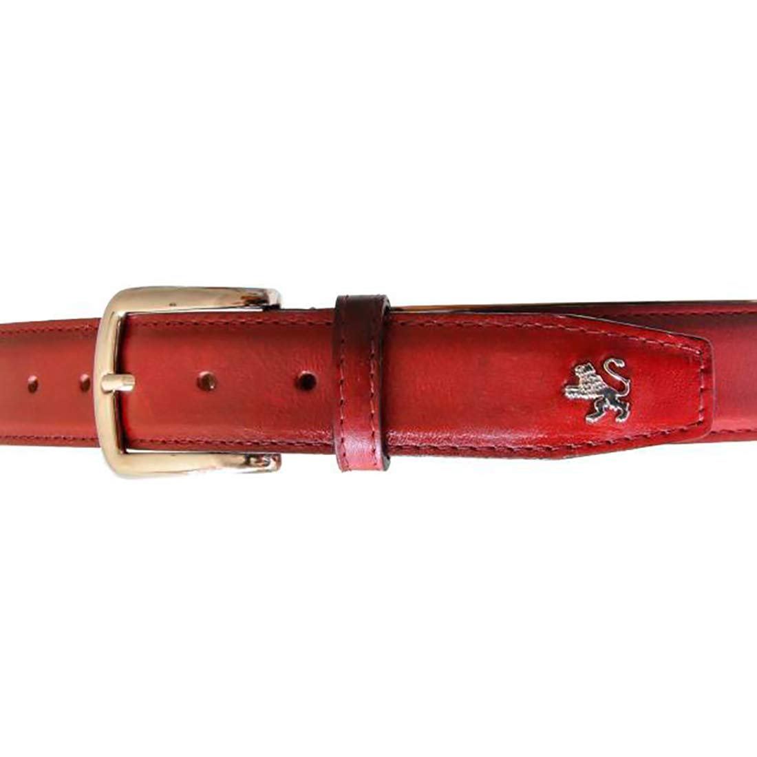 Custom Length Pratesi Unisex Personalized Custom Initials Embossing Italian Leather Bruce Range Collection 35mm Wide Belt with Buckle Maximum 53 in Cherry