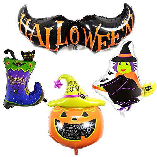 Gardeningwill 4 Different Design Shape Happy Halloween Aluminum Foil Bat Pumpkin Witch Cat Party Supplies Decoration
