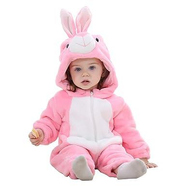 Traje de Franela Encapuchado para Bebé Recién Nacido Ropa Mameluco Pelele con Capucha Niños Niñas Pijama Disfraz Infantil Dibujo Animado Animal Cómodo ...