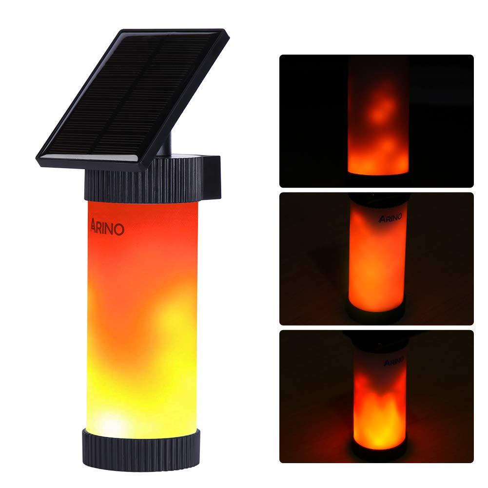ARINO Luci Solari di 102 LED Fiamme Finte Lampada Wireless da Parete Bianco Caldo Solare Illuminazione con Energia Solare Impermeabile IP65 per Esterno, Parete, Giardino, Strada