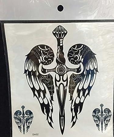 Amazoncom Grashine Large Angel Wings Cross Fake Temp Tattoo