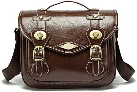 Medium,Coffee OLizee Vintage Retro Style PU Leather Removable Padded Camera Lens Shoulder Messenger Bag