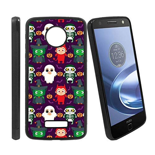 [Funny Kids in Halloween Costume] Compatible with Motorola Z Play/Z Play Droid/Moto Z Force/Z Force Droid, Non-Slip Soft Rubber Side & Hard Back Case Cover Shell Skin ()