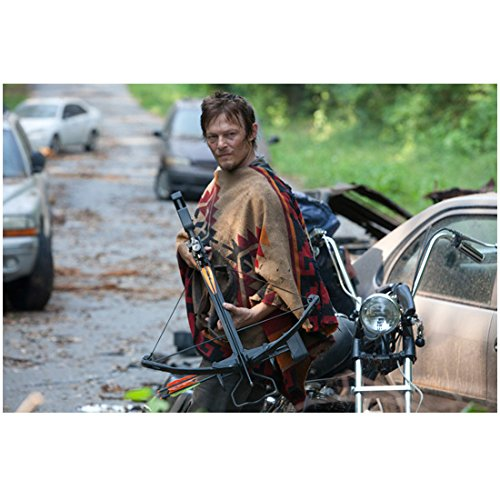 Norman Reedus in The Walking Dead as Daryl Dixon Dressed in Poncho with Bow and Arrow Motorcyle and Cars 8 x 10 Inch Photo ()