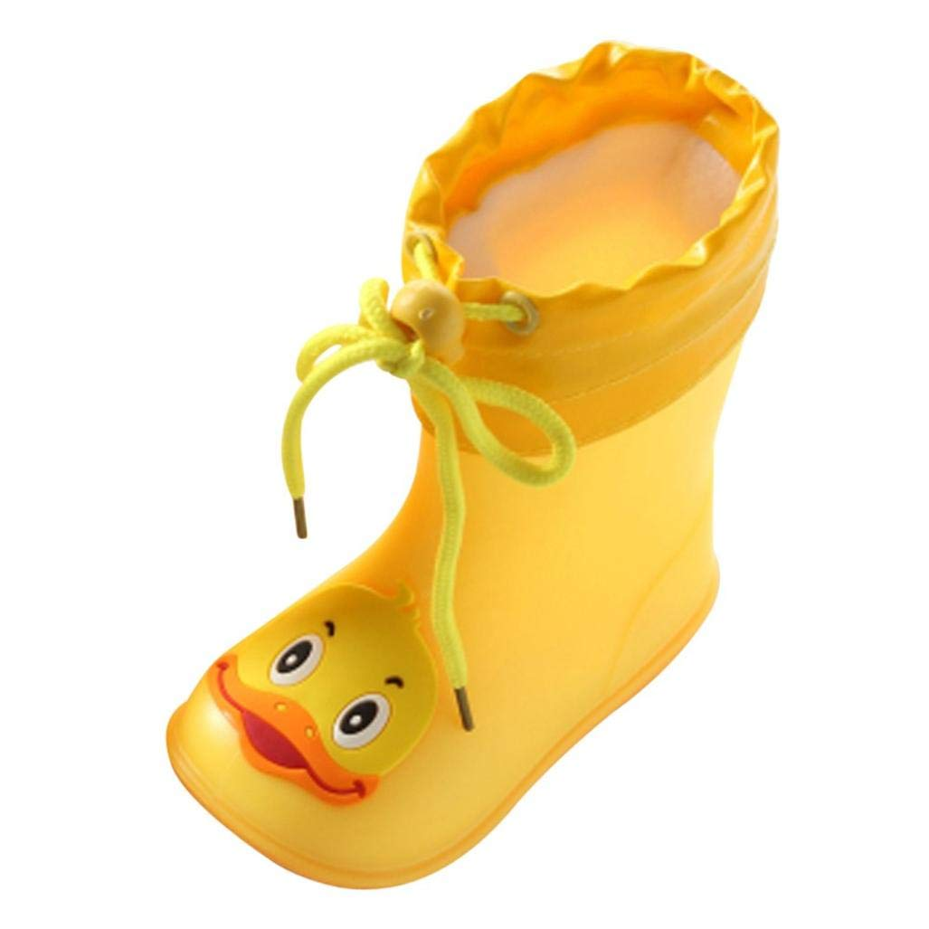 Voberry@ Waterproof Rain Boots,Yellow Duck Rain Shoes,Warm Rain Booties for Kids Toddler Girls Boys (5-5.5T, Yellow)