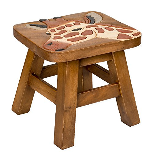 Giraffe Design Hand Carved Acacia Hardwood Decorative Short Stool (Furniture Reviews Ratings And Store)