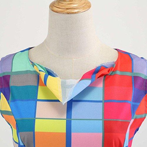 vintage ballo da Multicolor floreale senza Abito maniche da elegante Fami donna fBP0wx