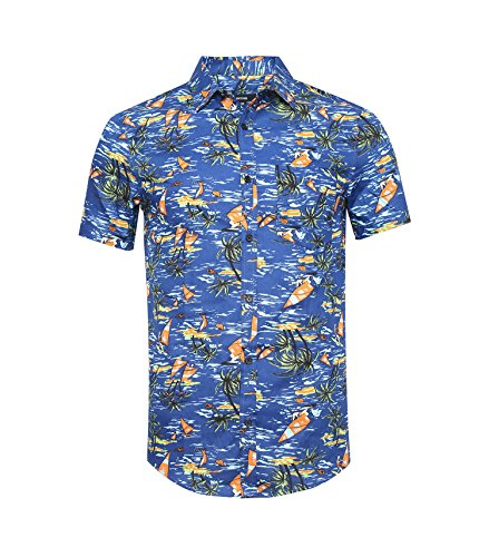 Navy Aloha Hawaiian Shirt - NUTEXROL Men's Standard-Fit 100% Cotton Palm Tree Beach Print Hawaiian Shirt 528Navy 3XL