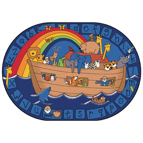 Alphabet Noah Rug - Carpets for Kids 74005 Alphabet Noah KID$ Value Plus Rug - 6' x 9' Oval