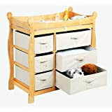 Best Quality Natural Sleigh Style Changing Table with...