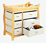 Best Quality Natural Sleigh Style Changing Table with Six Baskets By Badger