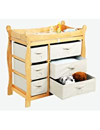 Best Quality Natural Sleigh Style Changing Table with Six Baskets By Badger BOBEBE Online Baby Store From New York to Miami and Los Angeles