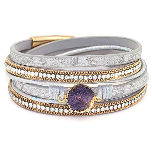 DTWAWA Fashion Vintage Multi-Layer Suede Gold-Plated Diamond Buckle -