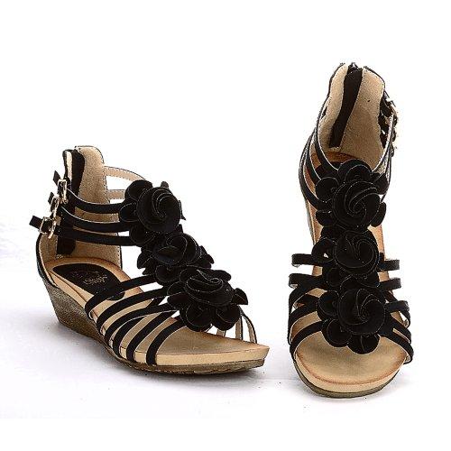 Peep Black Heel Sandals Roman Strappy Gladiator Toe Mid Leroy Flower Wedge Alexis AwqHET