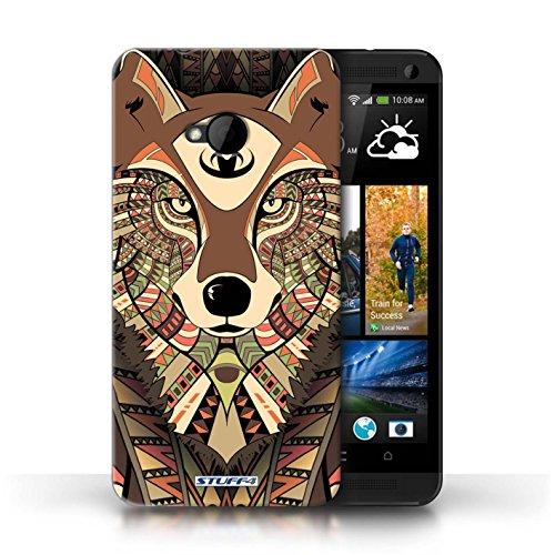 Coque de Stuff4 / Coque pour HTC One/1 M7 / Loup-Sépia Design / Motif Animaux Aztec Collection