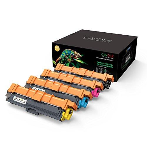 4 Color Toner Set (CAVDLE Compatible Brother TN221 TN225 Color Toner Cartridge Set for Brother HL-3170CDW MFC-9130CW HL-3180CDW MFC-9330CDW HL-3140CW MFC-9340CDW Black Yellow Magenta Cyan 4 packs)