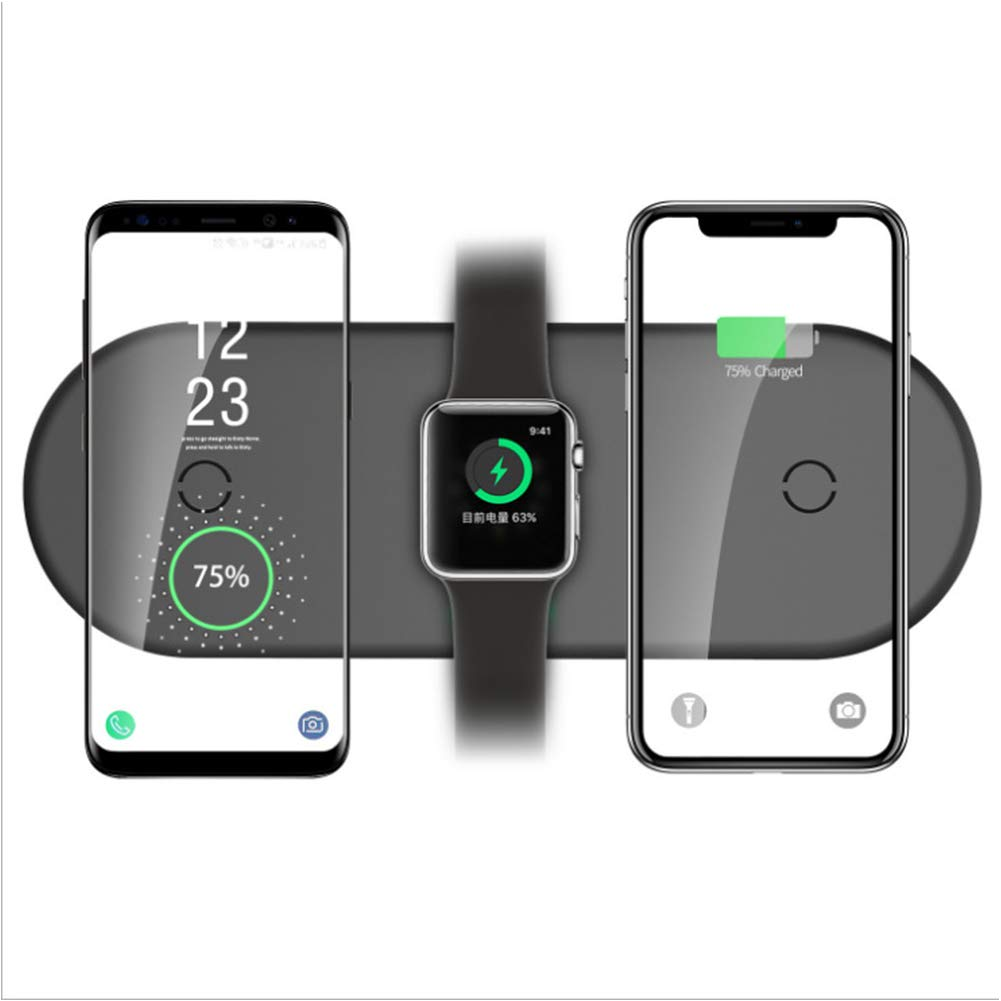 RONSHIN 3 in 1 Wireless Charger Qi Wireless Quick Charger for iPhone X/XS / 8 / 8Plus / Samsung Galaxy 10 Apple Watch1/2/3/4As Shown by RONSHIN